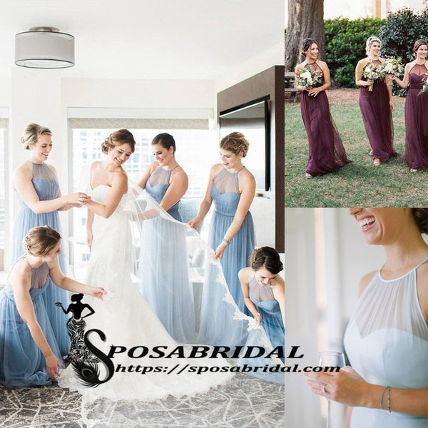 Long Cheap Popular Charming Elegant Halter Sky Blue Purple Tulle Long Bridesmaid Dresses, WG297