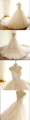 Long Elegant Formal V Neck Wedding Dresses, Asymmetric Back Lace Appliques with Zipper back Bridal Gown , WD0275