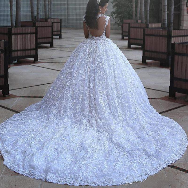 Long Full Lace Elegant Fall Gorgeous Modest Plus Size Princess Wedding  Dresses with train, Bridal Gown,WD0342