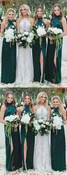Long High Neck Dark Green Cheap Bridesmaid Dresses, WG394