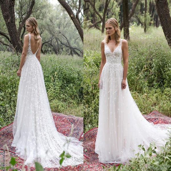 Long Lace V-Neck Vintage Country Bohemian Beach Simple Soft Wedding Dresses  with train  9882226fc06b
