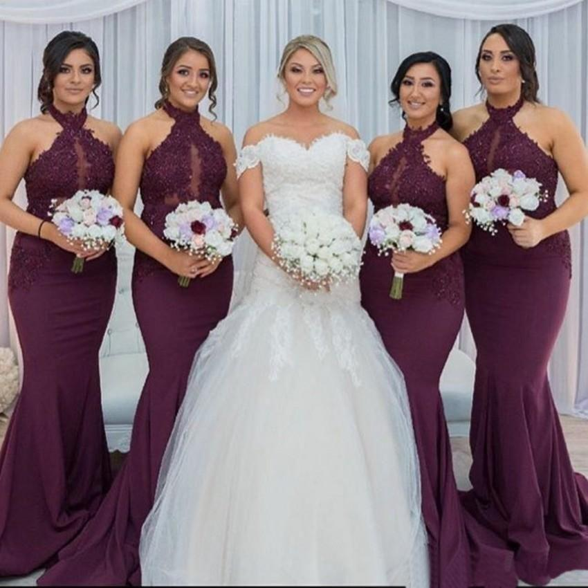 Long Mermaid Halter Elegant Popular Cheap Modest Bridesmaid Dresses, wedding guest dress, PD0550