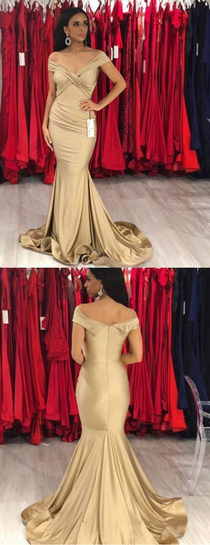 Long Mermaid Modest Elegant Unique Cheap Prom Dresses, Off Shoulder  Gold Bridesmaid Dresses ,PD1166