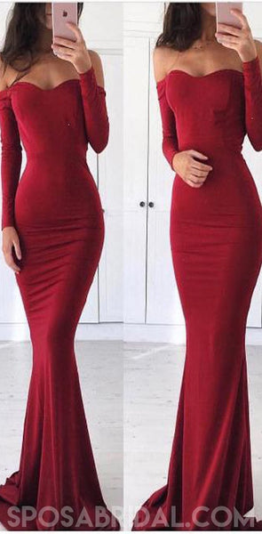 Long Red Mermaid Long Sleeves Elegant Simple Cheap Prom Dresses, Sexy Evening Dress, PD1168