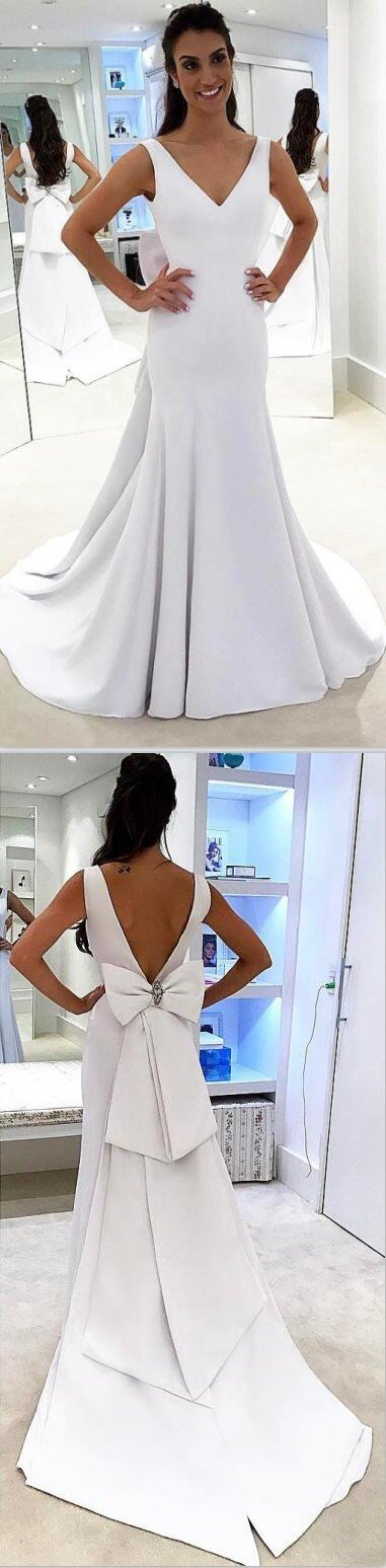 Long Satin Simple V-Neck Elegant Glamorous Modest Wedding Dresses with bow,WD0350