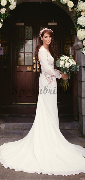 Open Back Long Sleeve See Through Lace Mermaid With Train Wedding Dresses WD0361