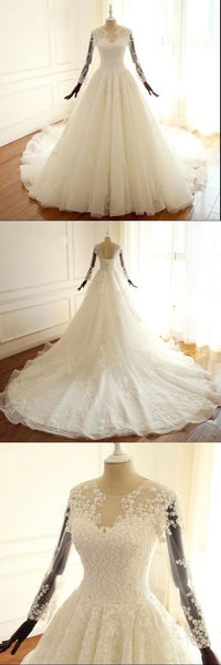 Long Sleeves A-ling Bridal Gowns, Ivory Beach Scoop Lace UP Back Wedding Dresses With Train , WD0276