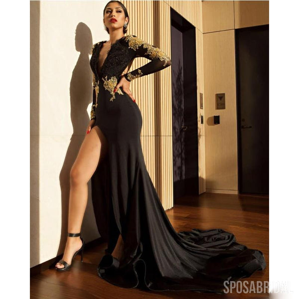 b88e5fe5dc1b Long Sleeves Black Mermaid Modest Newest Sexy Elegant Long Prom Dresses  with appliques, PD1324