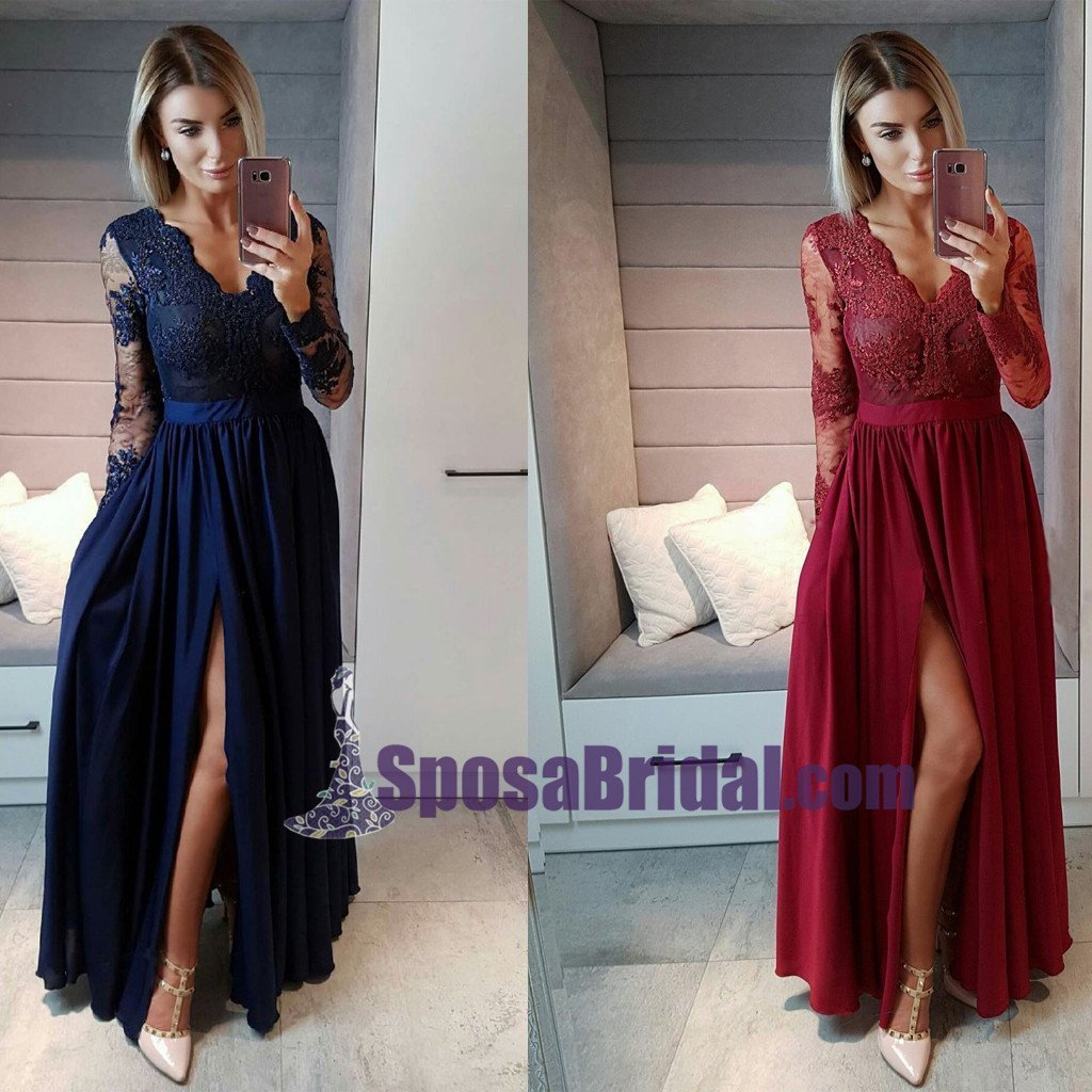 2019 Long Sleeves Burgundy Blue Chiffon Cheap Prom Dresses, Side Split Sexy Popular Modest Prom Dress, Evening gowns, PD0738 - SposaBridal