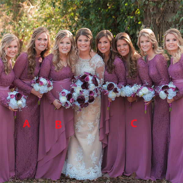 Long Sleeves Different Styles Elegant V-Neck Cheap Bridesmaid Dresses For Wedding, WG19
