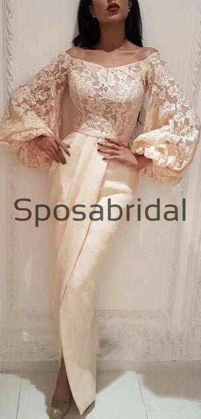 Long Sleeves Lace Off the Shoulder Mermaid Formal Elegant Modestt Prom Dresses, Prom dress PD1884
