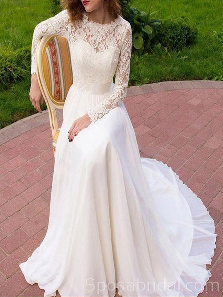 Long Sleeves Lace Simple  Elegant Classtic Romatic  Wedding Dresses,   Ball Gown, WD0357