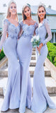 Long Sleeves Mermaid Elegant Gorgeous Blue  Formal Popular Bridesmaid Dresses, WG516