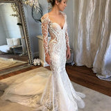 Long Sleeves Mermaid V-Neck Court Train Lace Unique Design Newest Long Wedding Dresses, WD0161