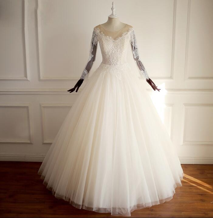 Selling Wedding Dress | Long Sleeves Scoop Hot Selling Wedding Dresses Online Fashion