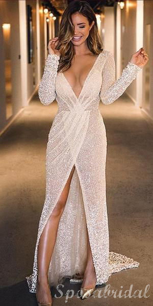 Long Sleeves Sequin Sparkly Fashion Shinning MOdest Elegant Popular Prom Dresses, PD1393