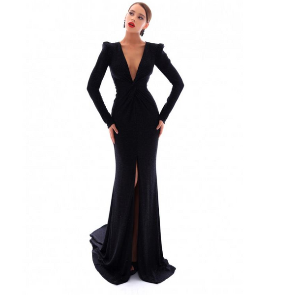 Long Sleeves Sheath Black Mermaid Deep V neck Side Slit Modest Prom Dresses,PD1352
