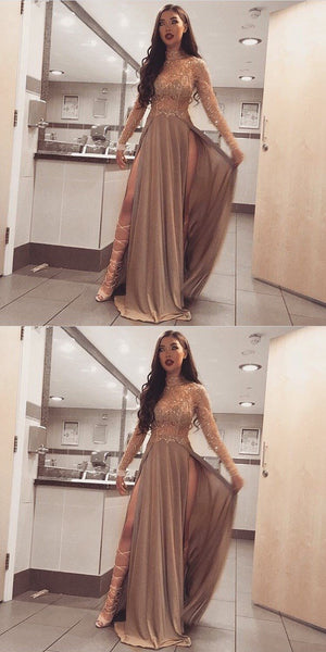 Long Sleeves Sparkly Stunning High Neck Split Sexy Cheap Modest Prom Dresses, PD0488