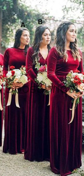 Long Sleeves V-Neck Red Mermaid Popular Modest Cheap Bridesmaid Dresses WG631