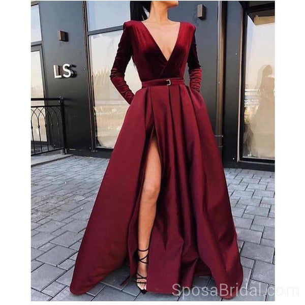 Long Sleeves V neck Side Slit Burgundy  Elegant Modest A line Long Prom Dresses, PD1296