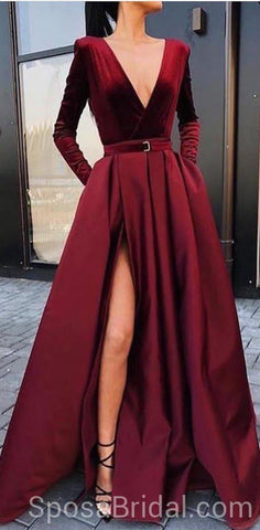 products/Long_Sleeves_V_neck_Side_Slit_Burgundy_Elegant_Modest_A_line_Long_Prom_Dresses.jpg