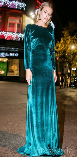 Long Sleeves Velvet Mermaid  Soft Modest  Elegant Formal Evening Prom Dresses, PD1264