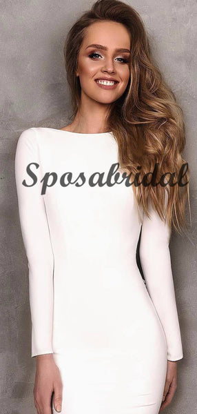 Long Sleeves Off White Mermaid Elegant Prom Dresses, Modest Fashion Evening Dress,PD1054