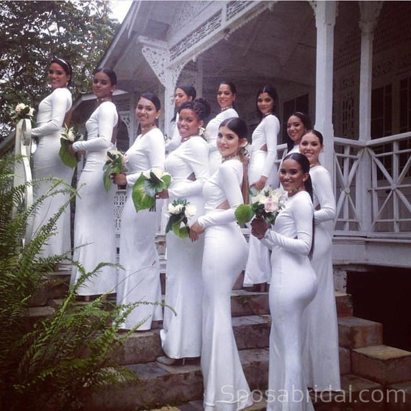 Long Sleeves White Unique Design Mermaid Elegant Bridesmaid Dresses, WG547