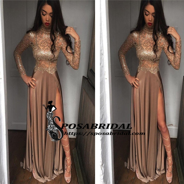 Long Sleeves High Neck Both Side Split Sparkly Shinning Soft Gorgeous Prom Dresses,prom dress, PD0781