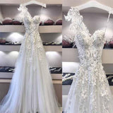 Long Unique One Shoulder Applique Elegant Beach A-line Wedding Dresses, WD0097