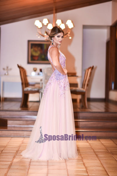 A-Line Open Back Lace V-Neck Tulle Formal Elegant Floor-Length Prom Dresses, Fashion Prom dress, PD0690 - SposaBridal