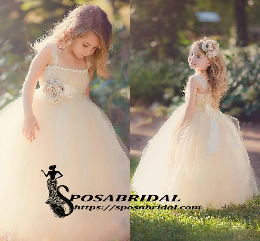 Lovely Children with Beautiful Handmade Flower Princess Puffy Tulle Flower Girl Dressse, FG118