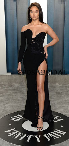 Mermaid Black Sequin Sexy Elegant Prom Dresses for Party PD2376