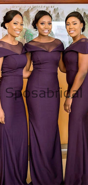 Mermaid Cap Sleeves Purple Elegant Formal Long Bridesmaid Dresses WG882