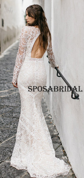 Mermaid Full Lace Long Sleeves Ivory Beach Wedding Dresses WD0602