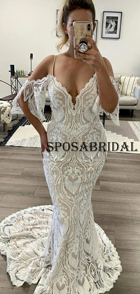 Mermaid Full Lace Plus Size Long Ivory Beach Wedding Dresses WD0603