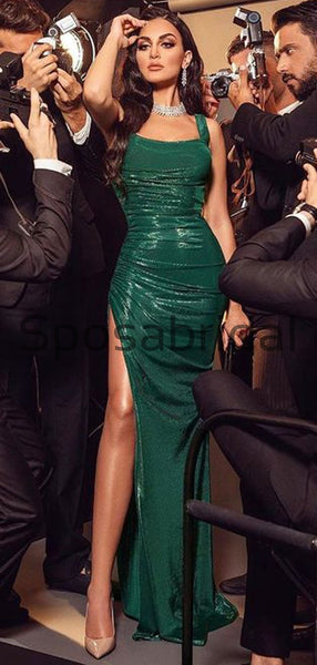 Mermaid Green Sparkly Long Modest Sexy Prom Dresses PD2318