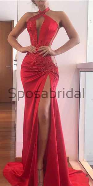 Mermaid Halter Red Sexy Unique Formal Prom Dresses PD2222