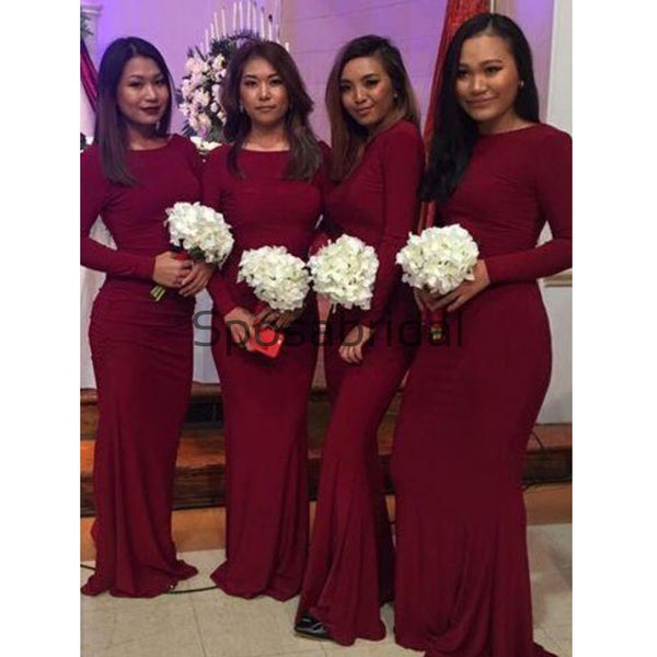 Mermaid Long Sleeves Burgundy Elegant Formal Bridesmaid Dresses WG883