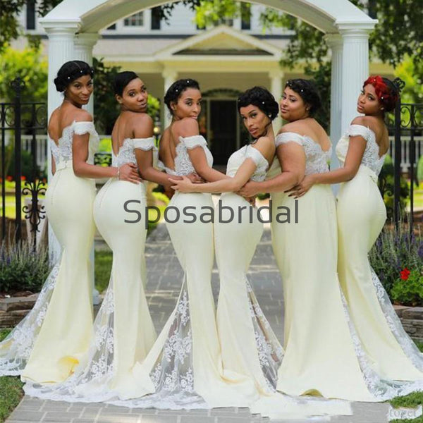 Mermaid Off the Shoulder Pastel Yellow Long Bridesmaid Dresses WG832