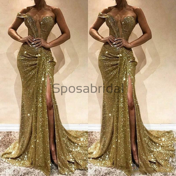 Mermaid One Shoulder Sequin Sparkly Modest Long Prom Dresses PD2225