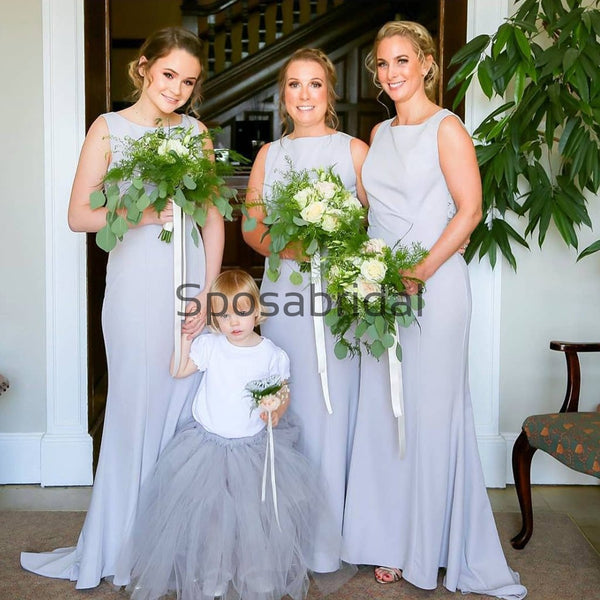 Mermaid Round Neck Long Elegant Formal Bridesmaid Dresses WG884