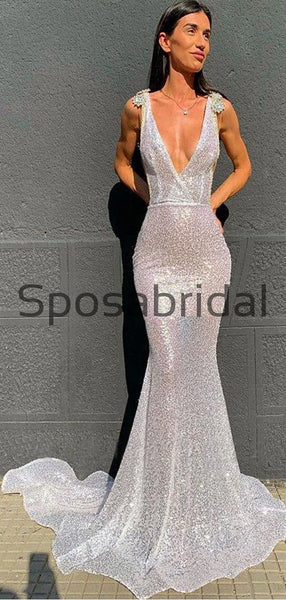 Mermaid Silver V-Neck Simple Modest Prom Dresses PD2269
