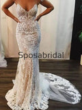 Mermaid Spaghetti Straps Beach Long Modest Wedding Dresses WD0550
