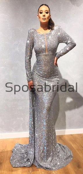 Mermaid Sparkly Sequin Gray Long Sleeves Fashion Prom Dresses PD2324