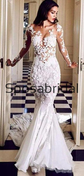 Mermaid Trumpet Lace Long Sleeves Country Long Wedding Dresses WD0552