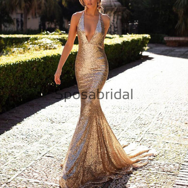 Mermaid V-Neck Sparkly Long Modest Prom Dresses PD2326