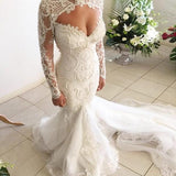 Elegant Popular Newest Mermaid Open Back Long Sleeves Tulle Wedding Dress with Lace and Pearls, WD0203