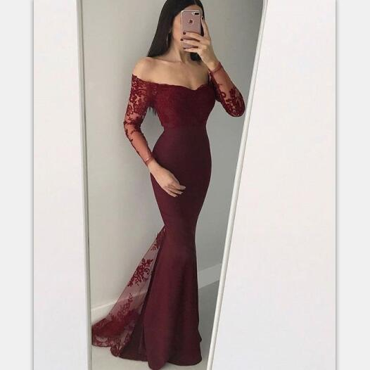 Mermaid Off-the-Shoulder Long Sleeves Black Burgundy Prom Dress with Appliques, PD0824