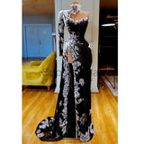 Mermaid One Shoulder Black  Formal Cheap Modest Long Prom Dresses with beads and lace, PD1632